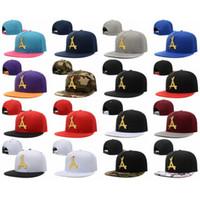 Wholesale Leather Logo Sports Hats Caps - 2017 HOT1! NEWEST THA Alumni Iron standard hip-hop hat Gold Logo Leather Snapback Caps Black Red Brand Hip Hop Men's Adjustable sports hats