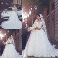 hochzeit arabische kleider freies verschiffen großhandel-Kostenloser Versand Langarm Tüll Arabisch A Line Brautkleider Applikationen Brautkleider Knopf Zurück Braut Brautkleider Robe De Mariage