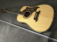 neue akustische akustikgitarren großhandel-NEUE Akustikgitarre massiver Fichte massiver Palisander Dreadnought Abalony natürlicher Ganzkörper Akustikgitarre aus massivem Fichtenkörper