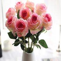 qualität echte berührung blumen großhandel-Hohe Qualität Rose Künstliche Blume Flusen Bouquet Real Touch Blumen für Wohnkultur Zubehör DIY Hochzeit Dekoration Kränze Dekoration
