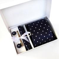 Wholesale Polka Dot Fashion Wear - 2017 New Cravat Design Men Neck Ties polka dot Clip Hanky Cufflinks sets Formal Wear Business Wedding Party Tie for Mens K05