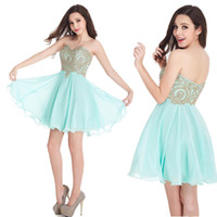 Wholesale Empire Waistline Dress - Real Cheap Short Hocoming Dresses Pretty Junior's Bridesmaid Dresses 2017 Empire Waistline Sweetheart with Gold Appliques 15 Girl Party Gown