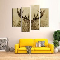Wholesale Long Wall Art Canvas - 4 Pieces Canvas Prints Deer Stag With Long Antler In The Bushes Wall Art Animals Picture Paintins with Wooden Framed for Home Decor