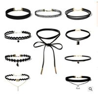 Choker Collar Set Stretch Velvet Classic Gothic Tattoo Lace Choker Mujeres Moda Charm Sexy Negro Stretch Lace Choker Collar Joyería