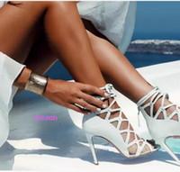 ingrosso pizzo in gabbia-2017 donne di estate sandali sexy sandali sandali gladiatore tacchi alti scarpe estive caged partito scarpe