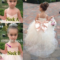 Wholesale Soft Pink Sashes - Flower Girls Dresses for Weddings Girls Pageant Gowns Formal Wear Puff Soft Tulle White Ivory Champagne Kids Princess girl Dress Crystal Bow