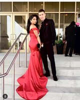 Wholesale Evening Purple Memaid Dress - Burgundy 2017 Sexy Off Shoulder Prom Dresses Split Memaid Court Train Cheap Formal Evening Dress Party Gown Custom Made