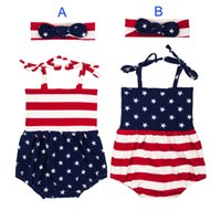 Wholesale Spring Big Flag - Baby INS Flag of the United States Rompers Girl Cotton print romper +Big Bows headbands 2pcs sets baby clothes B001