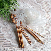 blanket knitting needles - 1Set various specification Length m blanket Crochet Hook set Bamboo Needle with transparent plastic tube DIY hand knitting tool DL_KN021