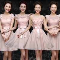 Wholesale Short Bridesmade Dresses - 2017 pale light pink lace bridesmade modern sweetheart bridesmaid dresses short bridal dress with straps for weddings B2734