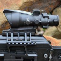 Wholesale Black Tactical - Trijicon ACOG 4X32 SCOPE Fiber Source Red Green Illuminated Scope Black Color Tactical Riflescope Airsoft Gun Hunting