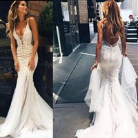 Wholesale Tulle Couture - 2017 Pallas Couture Amazing Detail Outdoor Mermaid Wedding Dresses Lace Sexy Deep V Neck Backless Boho Country Beach Wedding Gowns