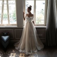 Wholesale High Quality Making Dresses - Elihav Sasson Luxury Vintage Jewel Wedding Dress with Champagne Lining Pearl Crystal Rhinestone Sweetheart A line Real Photo High Quality