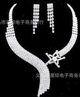 ingrosso matrimonio 88-bianco cristallo sposa sposa set necklce orecchini (88)