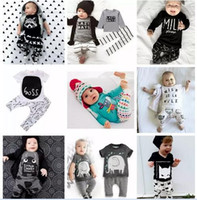 Wholesale toddler girls summer clothes - INS Baby Boys Girls Letter Sets Top T-shirt+Pants Kids Toddler Infant Casual Long Sleeve Suits 2017 Summer Children Outfits Clothes Gift