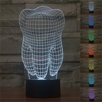 Wholesale Led Nightlights For Kids - Free Shipping Novelty design Tooth Shape 3D Illusion LED Table Lamp NightLight KIDS Colorful Table Touch Lamp Gift for dentist