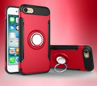 Wholesale Iphone Wit - New Hybrid Armor Case for iPhone6 6plus 7 7plus iphoen x 8 Shockproof with Magnetic Back for Car Holder 360 degree Ring Stand wit Retail box