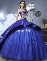 Wholesale Strapless Organza Yellow Ball Gown - Luxury Detail Gold Embroidery Quinceanera Dresses with Peplum 2017 Masquerade Ball Gown Royal Blue Sweety 16 Girls Prom Ball Gowns