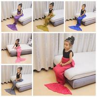 Wholesale handmade crochet animals online - Crochet Mermaid Blankets for Kids Handmade Knitted Blankets for Children Mermaid Swaddle Mermaid Sleeping Blanket cm cm YYA930
