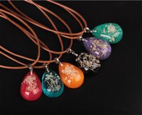 Wholesale Luminous Rope - hot! 2017 new fashion transparent water drops dried flowers luminous pendant necklace for women trendy ethnic necklace jewelry accessories