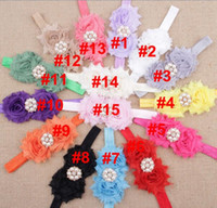 Wholesale Wholesale Quality Shabby Flowers - Children's hair accessories new high quality handmade Pearl diamond shabby chiffon flowers glossy hair band YH635