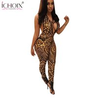 Commercio all'ingrosso - ICHOIX Summer Women Sexy Donne Sequined Giubbotto 2017 Estate femme party club Rompicapo Camicie Donne sleeveless Deep V Leotards