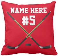 """Wholesale Numbered Cushions - Hockey Pillow Case Your PHOTO, NAME and Jersey NUMBER, Squar Sofa Cushions Cover, """"16inch 18inch 20inch"""", Pack of X"""