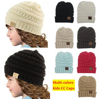 Wholesale Children Crochet Beanie Hats - kids Winter Warm Hat Knitted CC hat label children Simple Chunky Stretchable kids Knitted Beanies Baby Hat Beanie Skully Hats DHL-1