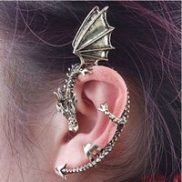 Wholesale Game Thrones Ear Cuff - 2017 Punk Dragon Shaped Earrings Clip Alloy Dragon Ear Cuff Clip On Earrings Game Of Thrones Jewelry