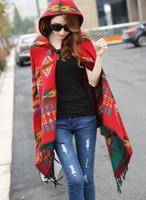Wholesale Fringe Cape - Wholesale- New Fashion Fringe Ethnic Geometric Women Batwing Cape Poncho Knit Top Cardigan Sweater Coat Hip Scarf Shawl Free Shipping