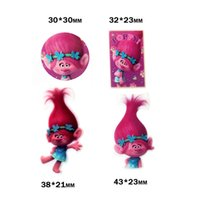 Wholesale hair bow resin flatback - 40Pcs Mixed Cartoon Trolls Poppy Resin Planar Hair Bows Christmas Flatback Resin Cabochons Crafts DIY Phone Decorations New Year Decorations