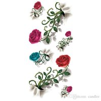 Wholesale Transfer Rose Tattoo - Wholesale-2016 New 3D Rose High Quality Water Transfer Waterproof Temporary Tattoo Sticker Body Art Sexy Makeup Colored Drawing
