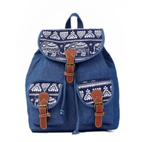 Wholesale Soft Unisex Jeans - Free Shipping Unisex New Fashion Cotton Jeans Leisure Canvas Backpack School Traveling Bag Sports Outdoor Bag High Quality