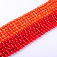 1pack / lot 7.5mm High quality Round Natural Red rosa laranja Coral loose spacer shorts DIY for bracelet necklace jewelry making