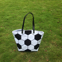 Wholesale team soccer bags online - White Cotton Canvas Soccer Tote New Soccer purse with PU Handle and Magnetic Snap Closure Team Accessories DOM106294