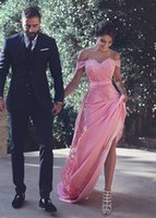 Wholesale Long Fitted Chiffon Dress - Stunning 2017 Chiffon Sheath Evening Dresses With Lace Appliques Off-the-shoulder Neck Zipper Back Long Fitted Formal Dresses Evening Wear