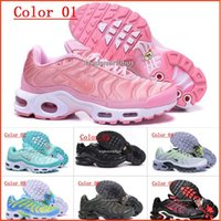 Wholesale Tn Sneakers - Discount Brand New Women's Air Cushion TN Running Shoes Black White Womens Athletic jogging Tennis Shoes Pink Woman Training Sports Sneakers