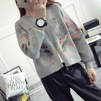 Wholesale Korea Winter Woman Jacket - Wholesale- Romantichut National Embroidery Floral Winter Cardigan 2017 New Women Sweater Korea Style Casual Jacket Long Sleeve Solid Coat