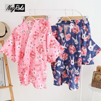 Wholesale Set Bathrobe Women - 2017 summer 100% cotton simple japanese yukata pajamas women shorts kimono for women short sleeves sleepwear bathrobe homewear