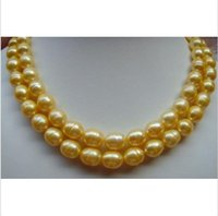 "Wholesale Huge Gray Baroque Pearls - HUGE AAA+ 10-13MM South Sea Golden Baroque Pearl Necklace 35"" 14K GOLD CLASP"