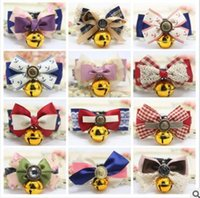 Wholesale Wholesale Luxury Dog Products - Dog Collars 2017 Adjustable Dog Collar Pet Grooming Rabbit Cat Puppy Bells Bow Luxury Lace Bowtie Pet Dog Puppy Lovely Pet Product