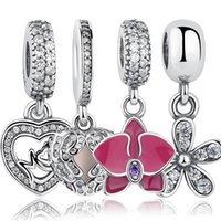Wholesale Orchid Jewelry Wholesale - Wholesale- 925 Sterling Silver Angel Wings Radiant Orchid Dazzling Daisy Pendant & Charm Fit Bracelet Heart Jewelry Accessories