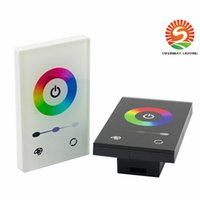 Wholesale Glass Dc - US Standard Black White Glass In-Wall LED RGB Touch Controller 12-24V DC 12A White and Black