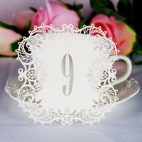Wholesale Vintage Table Numbers - 10pcs set Wedding Table Number Table Cards Hollow Laser Cut Card Numbers Vintage Wedding Decoration Event Party Supplies