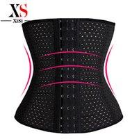 Wholesale Cheap Waist Slimming Corsets - 3Rows hooks women slimming Cheap body shaper Bustier belt fashion 4 steel boned waist trainer corsets black Plus size Shapewear