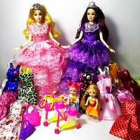 Wholesale Baby Wedding Dress Months - 2016 New Beautiful Handmade BJD Sale Princess Baby Barbie Dolls Kids Cartoon Toys for Girl Wedding Dress Toys as birthday gift