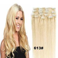 hint brezilya saç nakliye toptan satış-70g 100g 120g Sarışın Siyah Kahverengi Ipeksi Düz Brezilyalı hint Remy İnsan Saç Uzantıları Klip ücretsiz kargo
