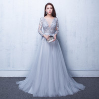 Wholesale Cheap Laced Dresses - Sexy Illusion Evening Dresses Lace Formal 2017 Elie Saab Prom Dresses Gowns With A Lace Applique Beads Crew Neck Long Sleeves Cheap