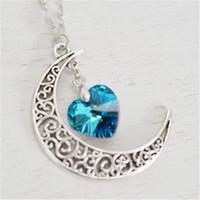 coeurs rustiques achat en gros de-20pcs croissant lune collier astrologie signe, rustique croissant lune charme bermuda bleu coeur t'aime à la lune