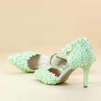 yellow sandals heels Australia - Ankle Strap Summer Sandals Handmade Lace Flower Women Middle Heels Bridal Wedding Shoes Adult Ceremony Pumps Purple Yellow